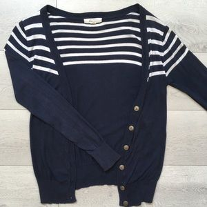 Forever 21 Navy Blue Striped Cardigan